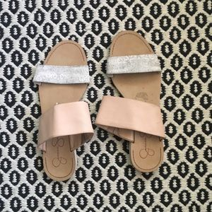 Jessica Simpson Pink and Snakeskin Sandals